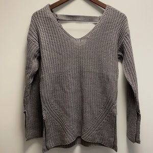 Pink rose gray knit sweater size small